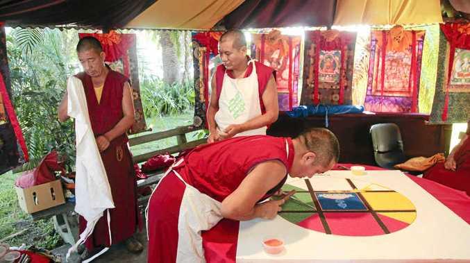 Gyuto Monks of Tibet creating a sacred sand mandala at the Mullumbimby Spirit Festival.
