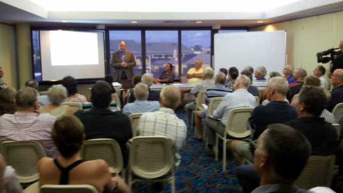 Lennox Head-based town planner Steve Connelly addresses a crowd of people at a public meeting about changes in Ballina Shire Council's proposed new Local Environmental Plan.