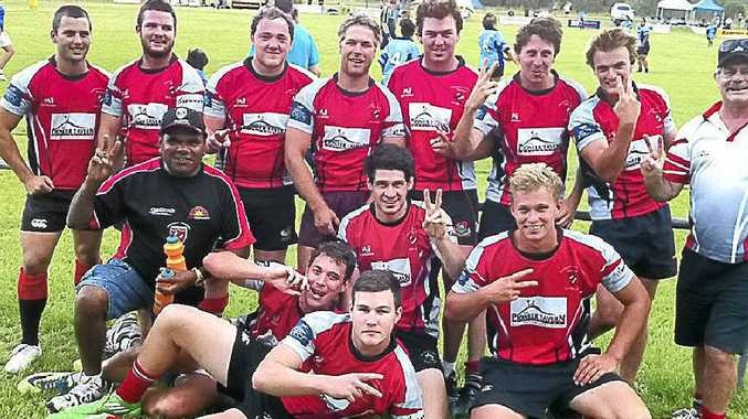 Wollongbar-Alstonville celebrates their success at the Crescent Head Rugby Sevens tournament.