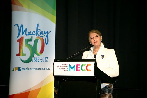 Queensland governor Penelope Wensley AC at Mackay's 150th anniversary celebrations at the Mackay Entertainment and Convention Centre.