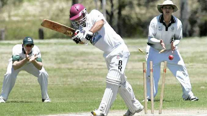 Brothers top order batsman Ken Litschner needn't look to the umpire as he is cleaned up by a delivery from Frenchville's David Goltz.