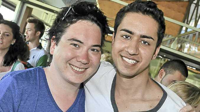 International students Kevin Lae and Samir Abedi set to enjoy Sunshine Coast university life.