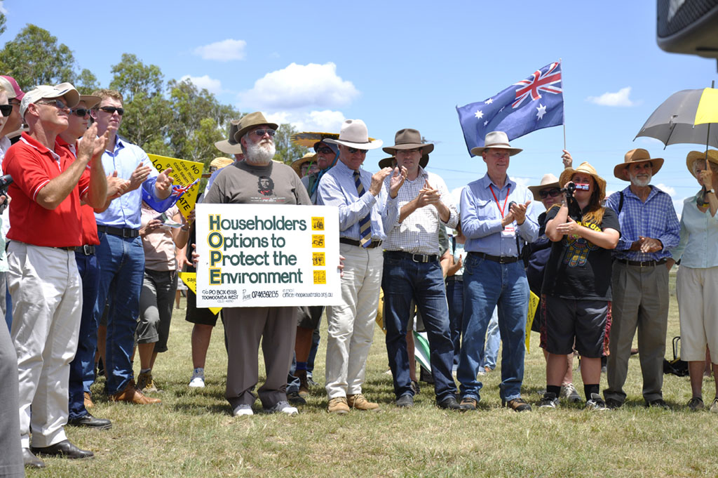 A protest against New Hope Coal expanding the Acland mine in early 2012