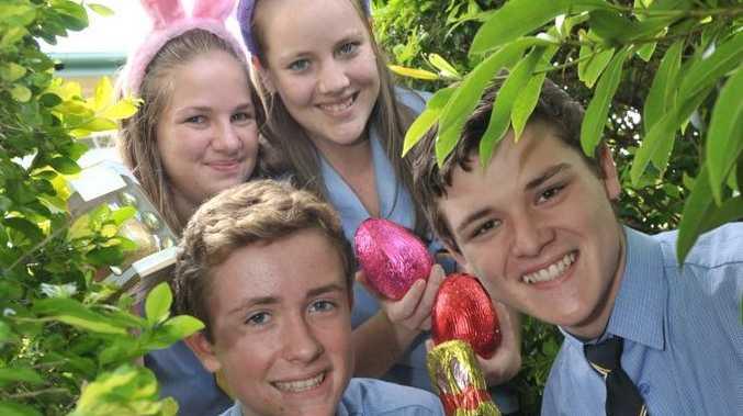 Nambour High school captains Ashlea Needham, Aiden Birney, Harry Jobberns and Tara Clothier want Easter eggs to support last years flood victims. Photo: John McCutcheon / Sunshine Coast Daily.