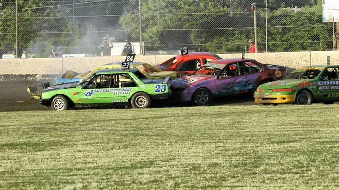 In the Modified Production series, the demolition reached catastrophic proportions in heat two at the Rockhampton Showgrounds.