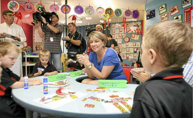 Premier Anna Bligh with children at Parkhurst State School, where she announced Labor's Mines to Minds program on the second day of the election campaign.