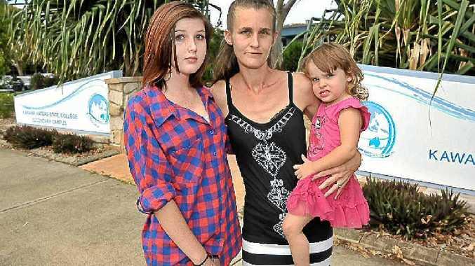 Kelly Snowden with her daughters Charlotte Wallis (left) and Mattie Snowden, 2.