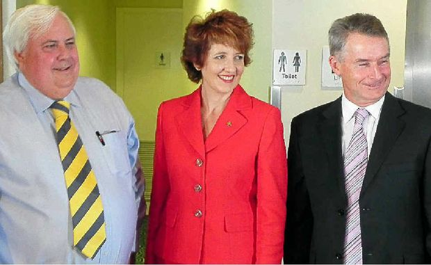 BLINDSIDED: Clive Palmer with MP Fiona Simpson and axed Hyatt GM Maurice Holland.