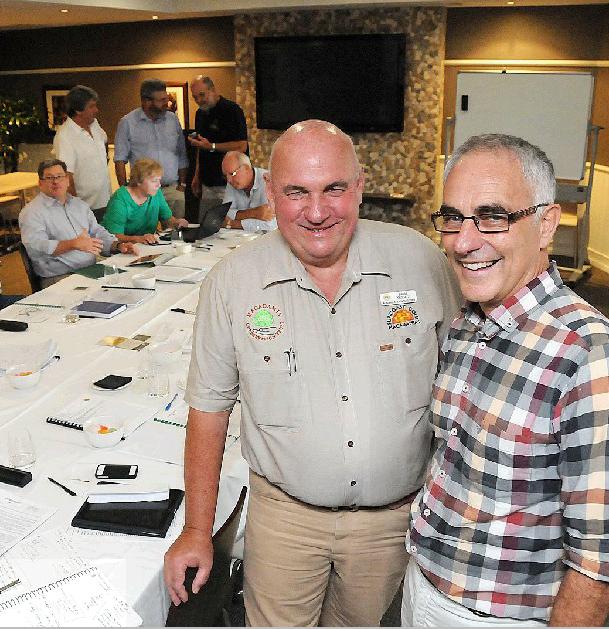 TOP GUNS: Board members Brice Kaddatz, of Suncoast Gold, and Jolyan Burnett at the Australian Macadamia Society meeting in Gympie yesterday.