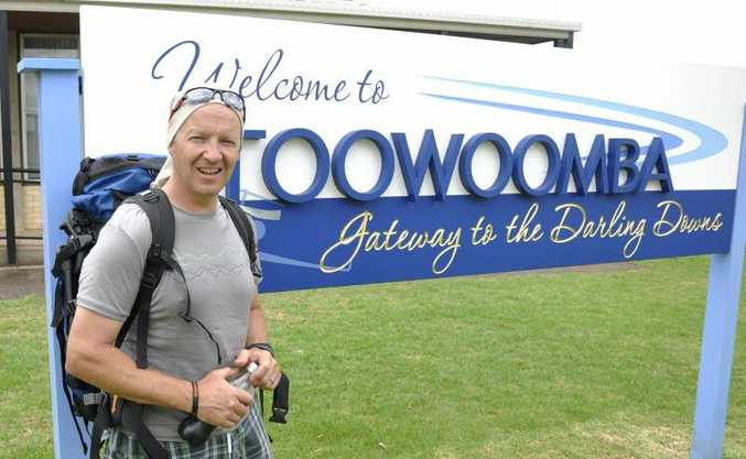 Mark Jennings-Bates in Toowoomba on his attempt to break the Guinness World Record for paragliding around Australia.