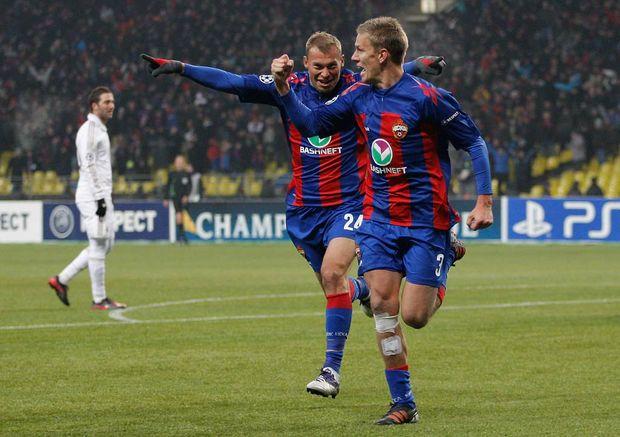 CSKA Moscow's Vasili Berezutsky and Pontus Wernbloom (right) celebrate scoring the equaliser.