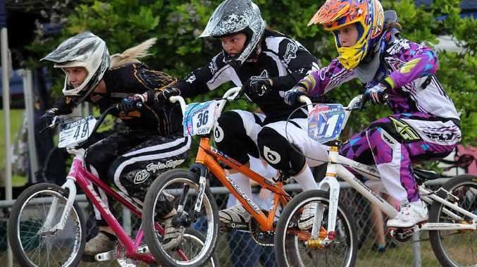 Jade Parker goes hammer and tongs in the girls race at the Cooloola BMX track.