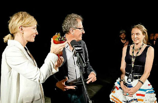 Cate Blanchett and Geoffrey Rush presenting Alethea with her Tropfest award.