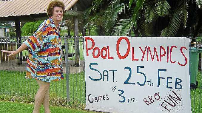 Pauline Ahern prepares for the Hawaiian shirt competition at the Nimbin Pool Olympics.