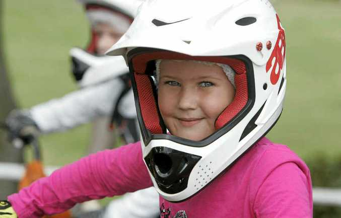 Rockhampton's Sapphire Rowell was all smiles as she got ready to race around the dirt track on Sunday.