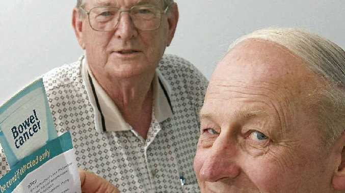 Bowelscan promoters Ray Inglis and Bob Kretchmann (front) encourage all over 40s to have the check done each year.