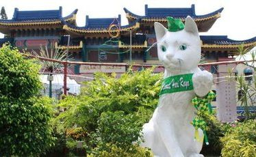 A giant cat statue - sporting a green ribbon to celebrate the end of Ramadan - guards the entrance to Kuching's Chinatown. Photo / Jim Eagles
