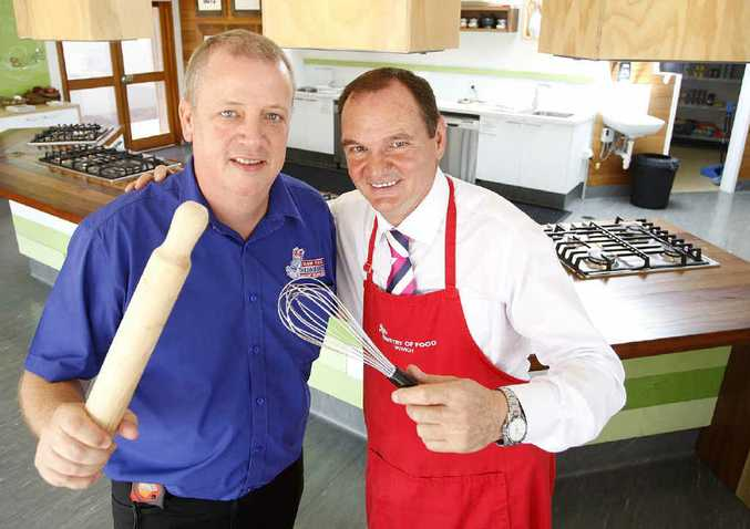 Proprietor of The Good Guys Ipswich Mark Timms with Mayor Paul Pisasale at The Ministry of Food at Darcy Doyle Place in the lead-up to Jamie Oliver's upcoming visit to Ipswich.