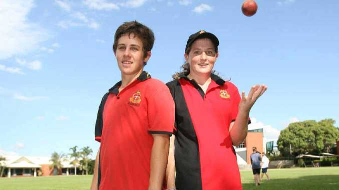 Rockhampton Grammar School's captains of cricket, Reegan Brown (left) and Lauren Shackleton, gear up for their school's First XI cricket trials.
