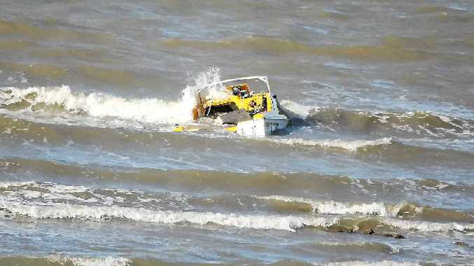 A small boat sank in shallow water near Cooee Bay, Yeppoon.