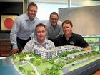 Brendan Robins from CBRE, Brent Higgins from Ray White, architect Rohan Jackson and Greg Tuckwell from Poole Group with an impression of Moko.