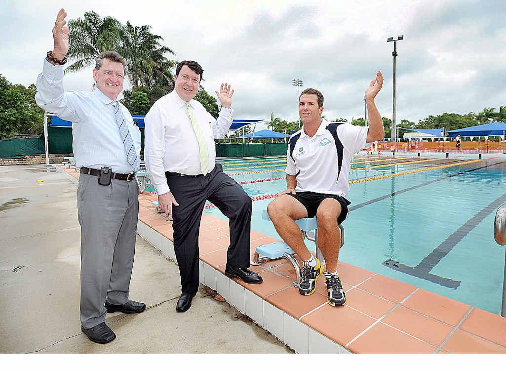 Mayor Mick Kruger, deputy premier Paul Lucas and aquatic centre manager Paul Jones.