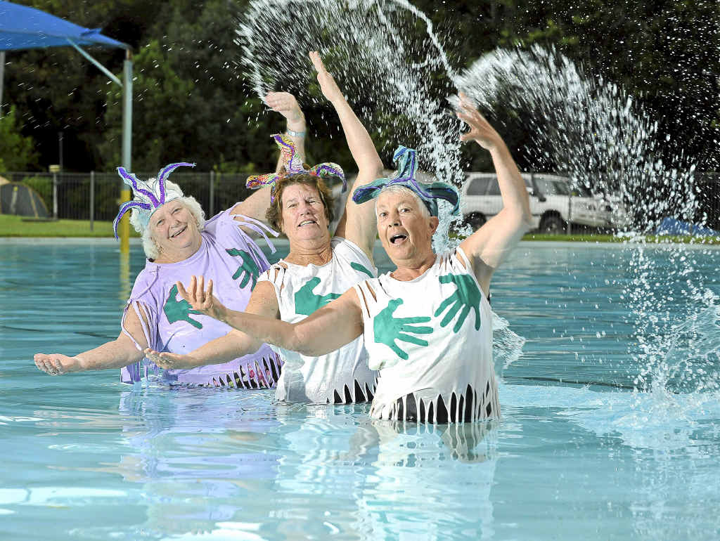 The Magnificent Mammary Mermaids Synchronised Swimming team, Sue Edmonds, Pauline Ahern, Denise Braidwood, practising at the Nimbin Pool for the 'Olympics'.