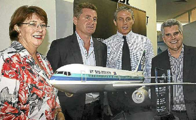 At the launch of Air New Zealand flying direct between Auckland and the Coast are Tourism, Manufacturing and Small Business Minister, Jan Jarratt, Air New Zealand GM Australia Cam Wallace, acting mayor Tim Dwyer and Sunshine Coast Airport GM Peter Pallott.