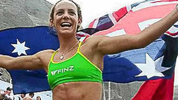 Jordan Mercer celebrates her win in Peru.
