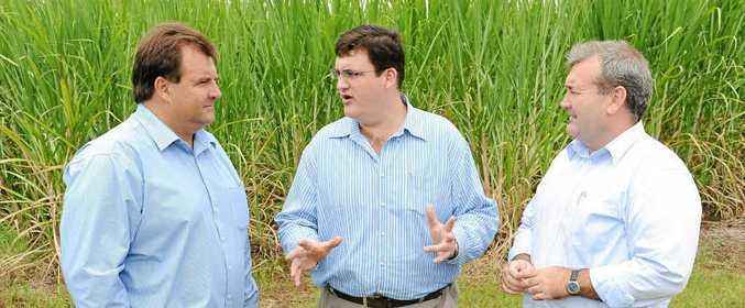 LNP candidate for Burnett Stephen Bennett, LNP shadow minister for agriculture Andrew Cripps and Member for Bundaberg Jack Dempsey meet in South Kolan.