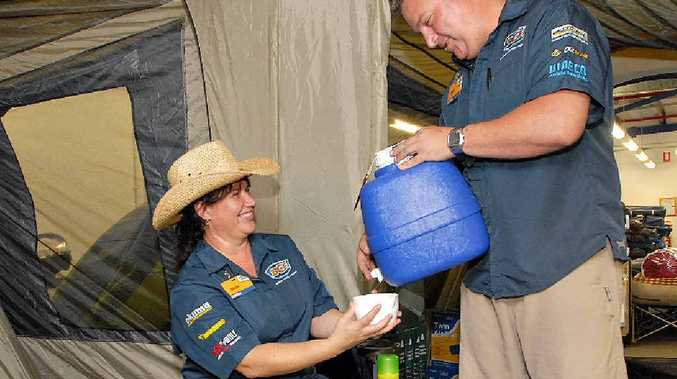 It's all the comforts of home in a tent as BCF store manager Geoff Stegman and staff member Vibeke Acquafermata put it to the test in store.