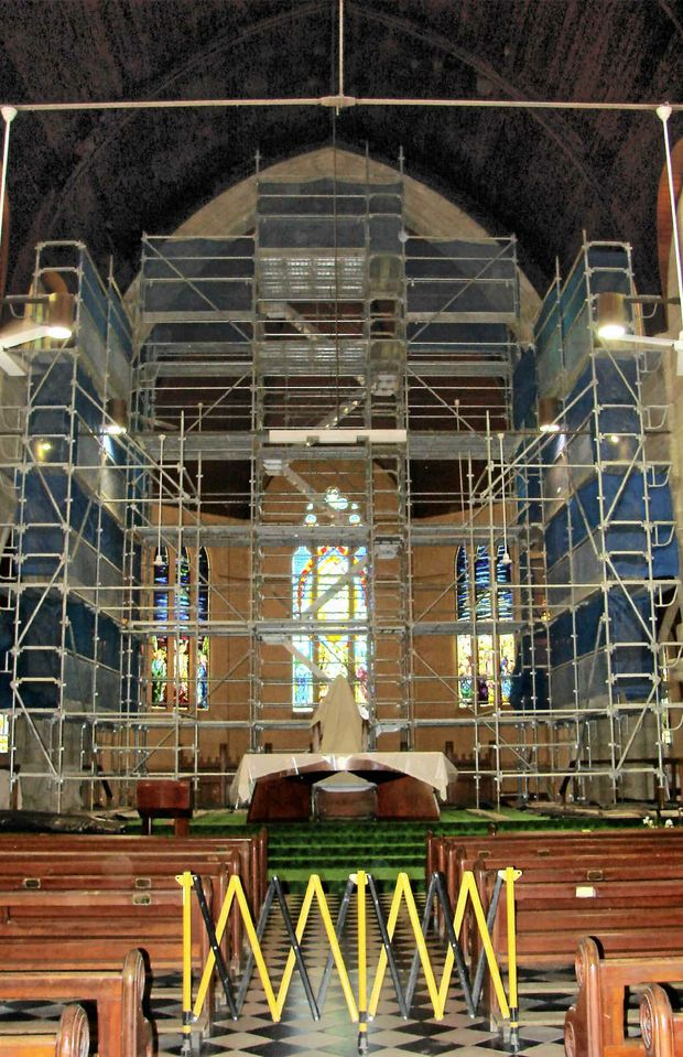 The St Joseph's Cathedral altar area under scaffolding.