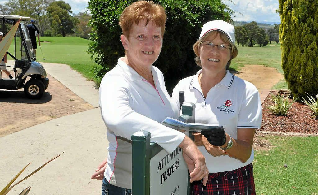 Warwick Golf Club ladies' president Majella Kahler and vice-president Marg Adcock look ahead to the zone championships in Warwick in August.