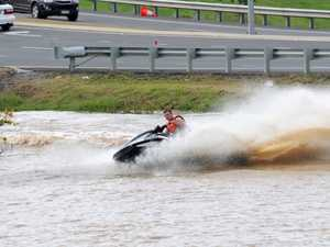 Jet ski fun on the flooded Mary River