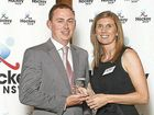 Daily Examiner Sport Editor Patrick Allen receives the media award for Outstanding Coverage from Hockey NSW Director Rebecca Sanders at the ceremony in Sydney on Saturday night.