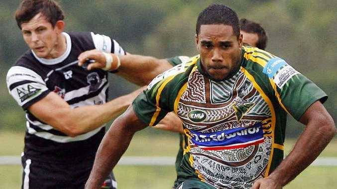 Ipswich Jets centre Donald Malone attacks the ball during their 16-10 trial win over Souths Logan on Saturday.