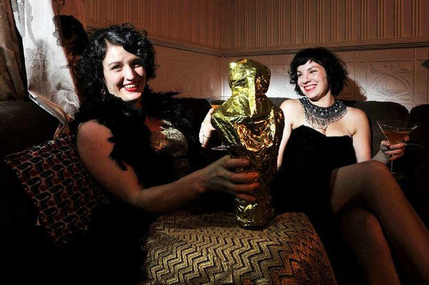 Oscar fans Nadine Chandler and Melissa Gulbin setting the scene before their Oscar party tonight.