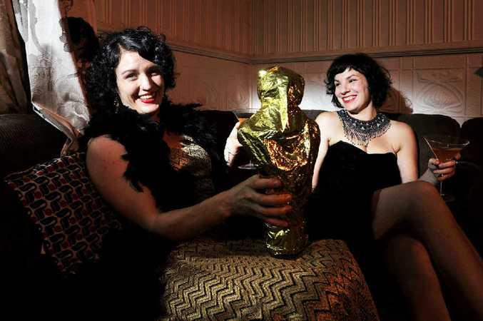Oscar fans Nadine Chandler and Melissa Gulbin setting the scene before their Oscar party tonight.