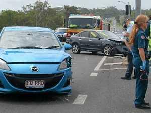 Red light runner crashes at corner