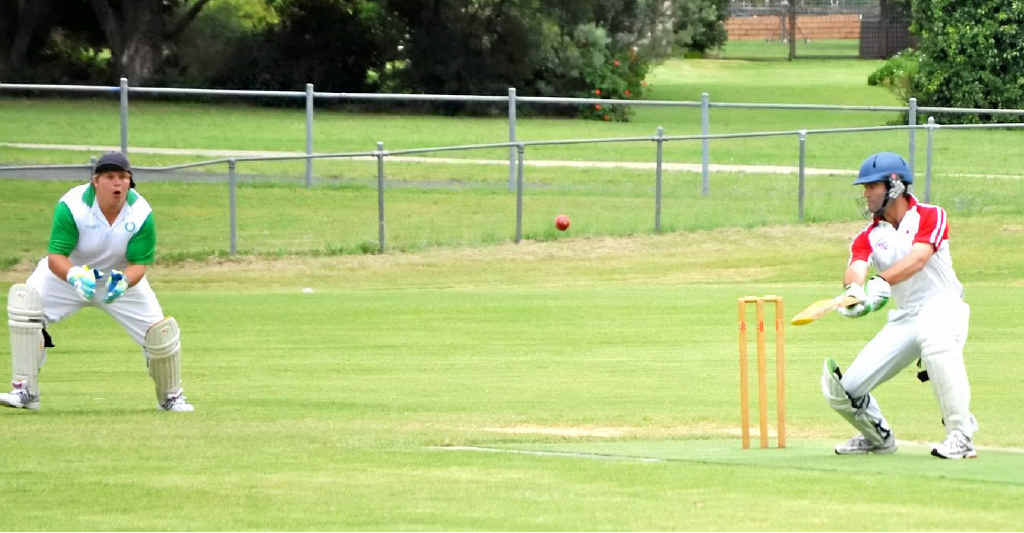 Colts batsman Maugan Benn edges to Mark Steketee (not in picture) at first slip to be dismissed for 11.