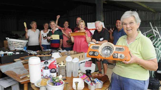 Dorothy Sander getting organised for the Little Haven Monster Garage Sale.