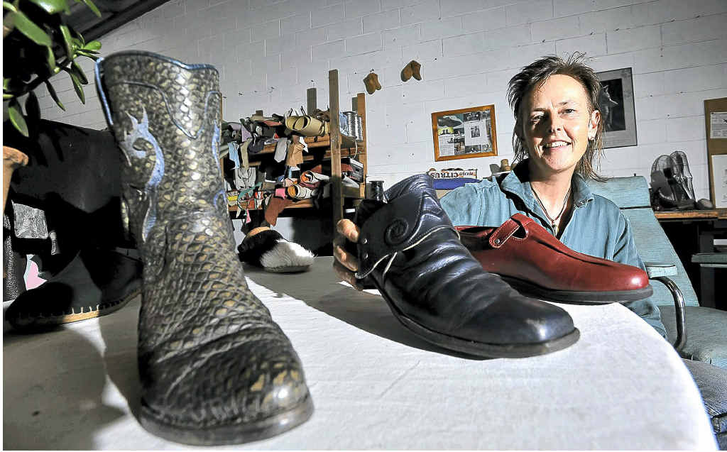 Rasu Leathergoods' Rachel Ayland designs and makes these and other shoes to suit each customer's feet and preferences.