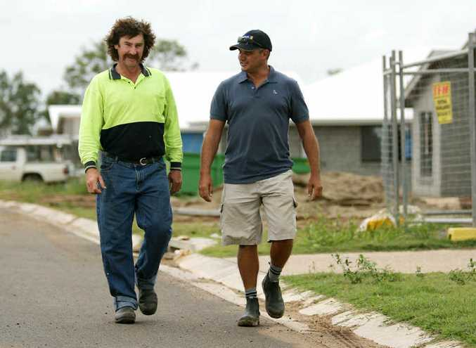 Fitzroy Turf's Andy Copper and Rudy Trifunovic of Homecorp Construction in a new development at Gracemere.