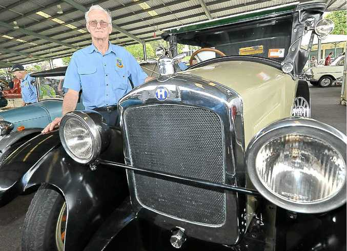 Jack O'Bryan with his 1925 Hupmobile at the Antique Car Club's sign-on day at Nambour.