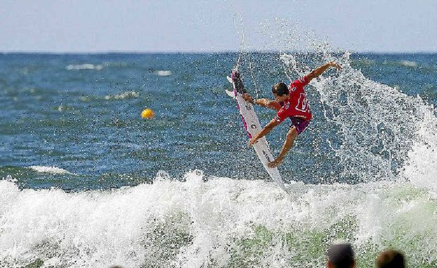 Julian Wilson of the Sunshine Coast found his form against Adam Melling during round three of the Quiksilver Pro Gold Coast yesterday.