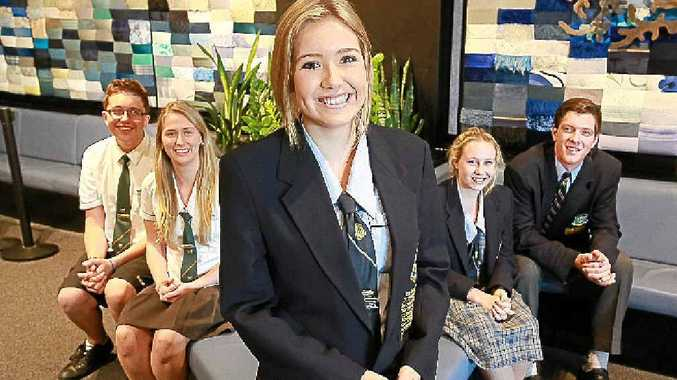 DELEGATES' CHOICE: Lauren Johannsen with Jacob Turner and Sara Dunbar, from Maroochydore High School, and Grace Waterman and Jeremiah Wray, from St Columban's College.
