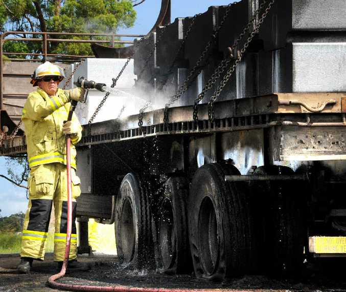 The tyres of a semi trailer pulled by a Kenworth prime mover caught fire yesterday.
