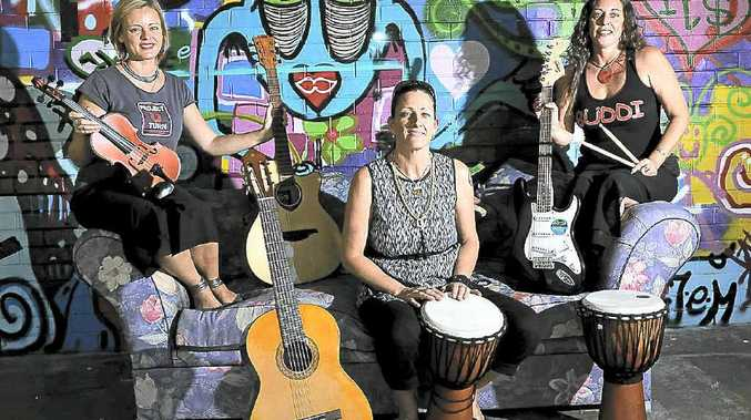 Project U Turn co-ordinator Kate Reed (left), director of Byron Youth Service Di Mahoney and team leader of Byron Underage Drinking and Drug Initiative (BUDDI) Nicqui Yazdi set to bring music to the Youth Activity Centre.