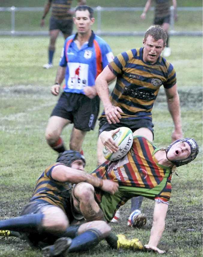 Drovers' Lachlan Campbell is down in this tackle but the youngster made his mark in last season's A-grade competition.