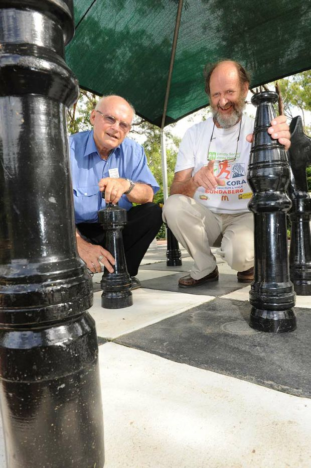 Allan Menham and Keith MacLeod keep their minds active by playing chess.
